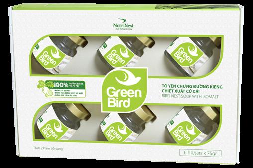 Quà tặng nước yến chưng đường ăn kiêng Green Bird  - 6 hũ 75gr